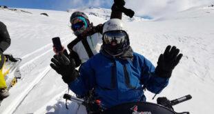 volcán Copahue en moto de nieve